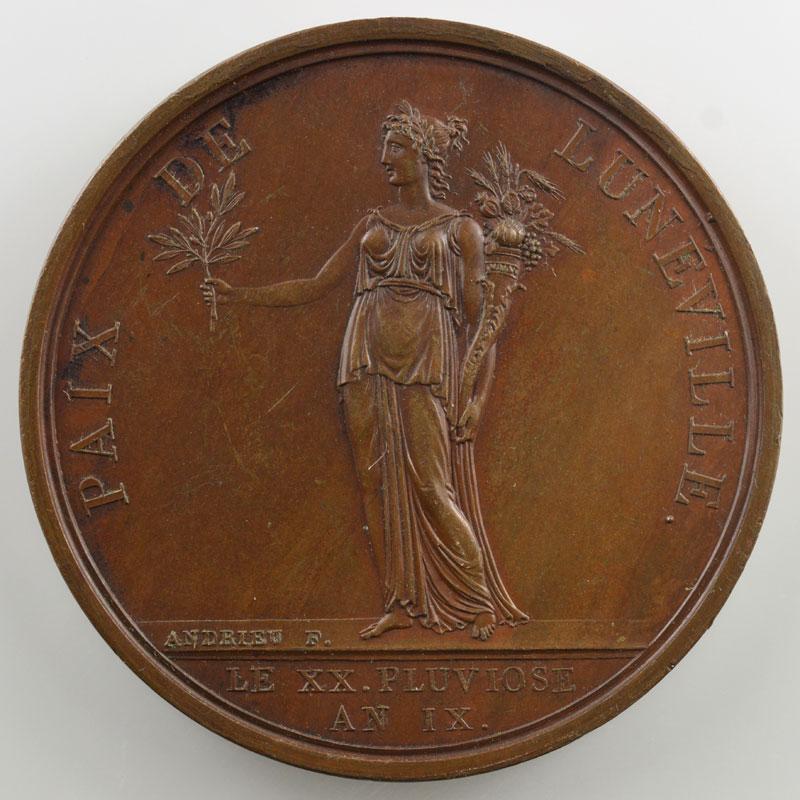 ANDRIEU   Paix de Lunéville   An IX (1801)   bronze   42 mm    SUP/FDC