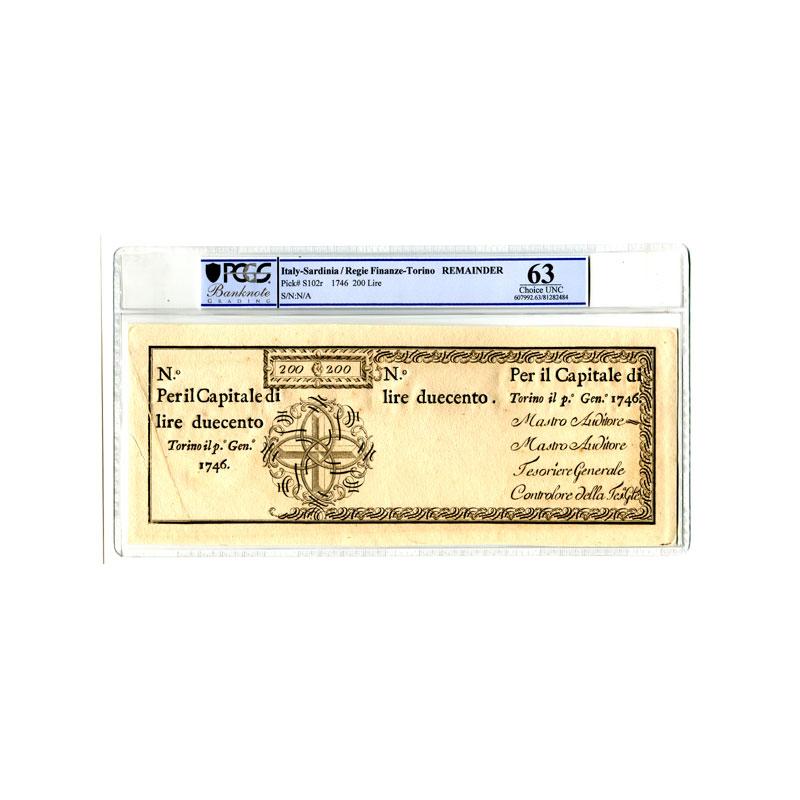 200 Lire   Regie Finanze-Torino   1-1-1746    SPL+    PCGS- Choice UNC63