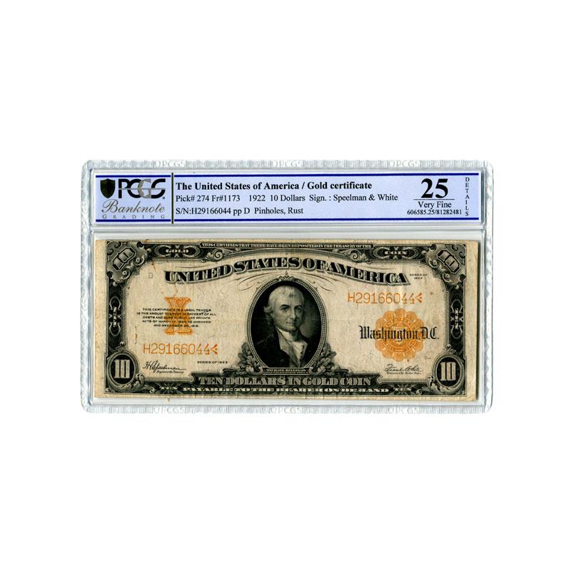 10 Dollars in Gold Coin   1922    TTB    PCGS- VF25 Details