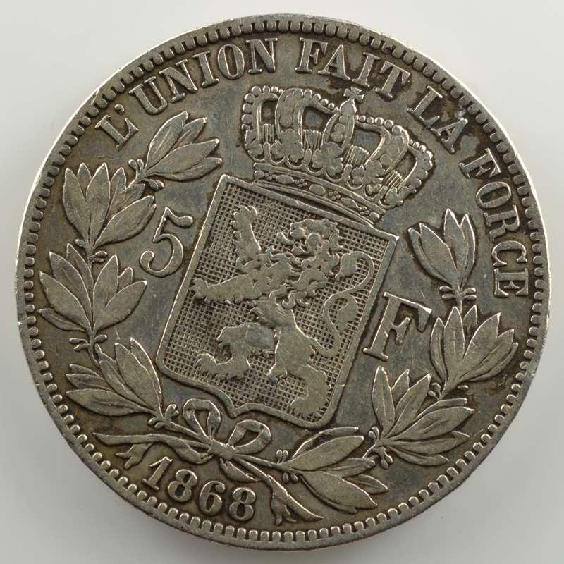 5 Francs   1868  position A   coins tournés 30° horaire    TB+