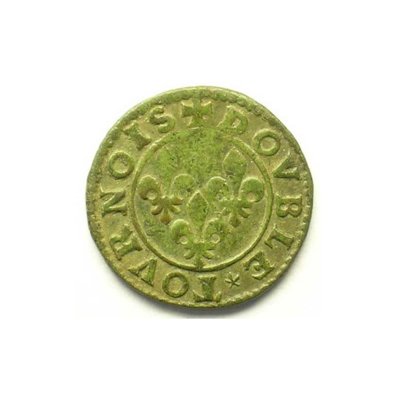 Double Tournois au col avec collerette en dents de scie   (François de Bourbon-Conti 1605-1614)   nd    TB+