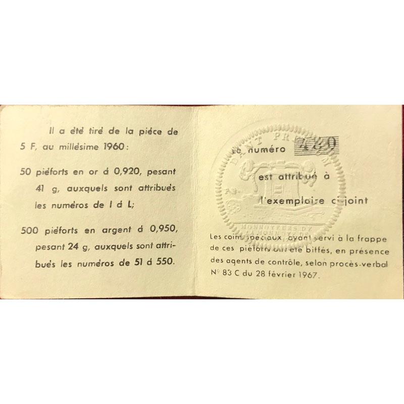 G.770P   5 Francs   1960  Piéfort en argent    PCGS-SP68    FDC
