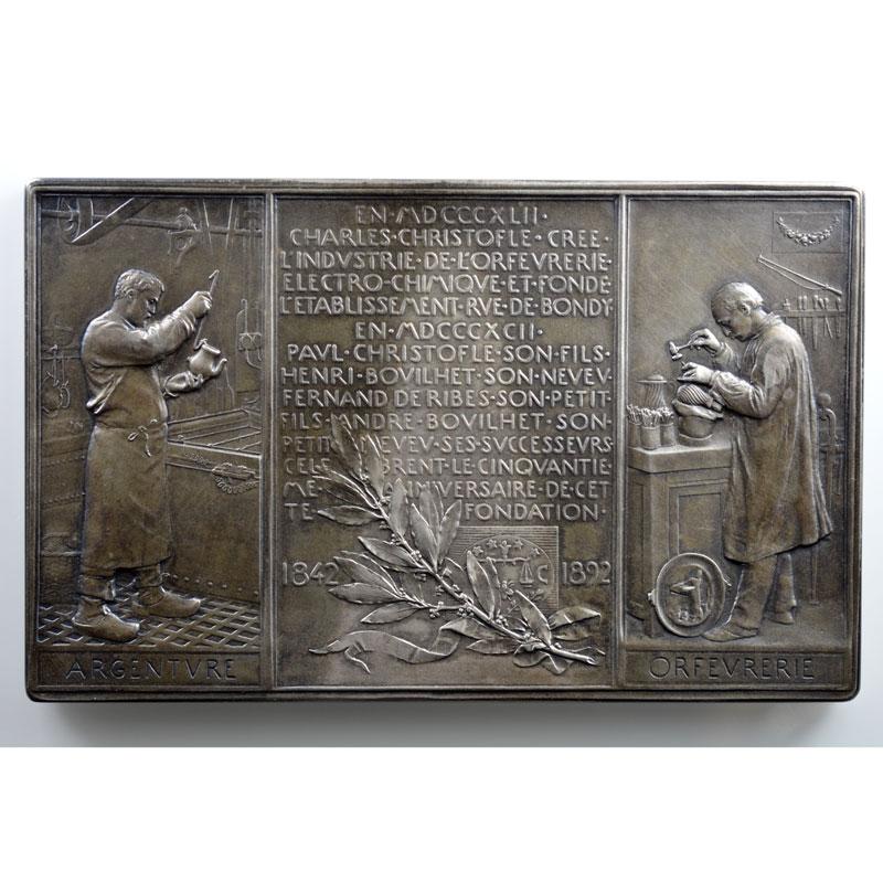 Roty Oscar   50° anniversaire de la maison Christofle  1842-1892   plaque en argent  59x95mm    SUP