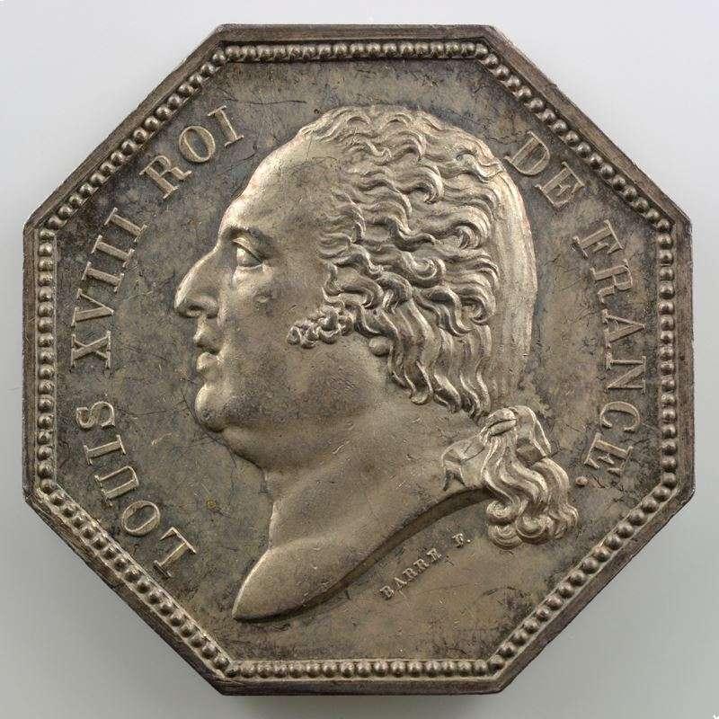 Jeton octogonal en argent   35mm   Louis XVIII   Incendie   1818    SUP