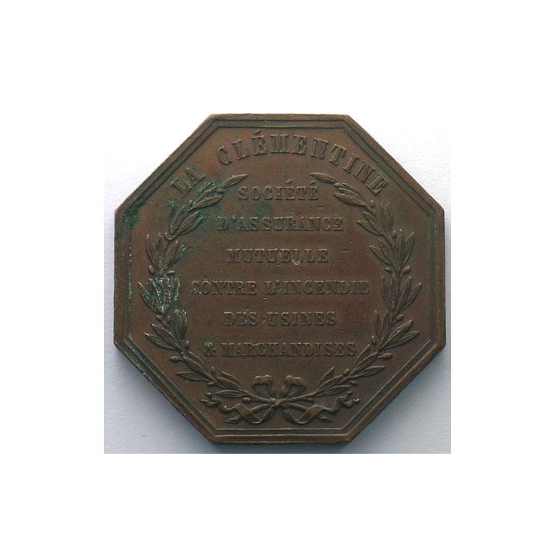 Jeton octogonal en cuivre   1858    TTB+