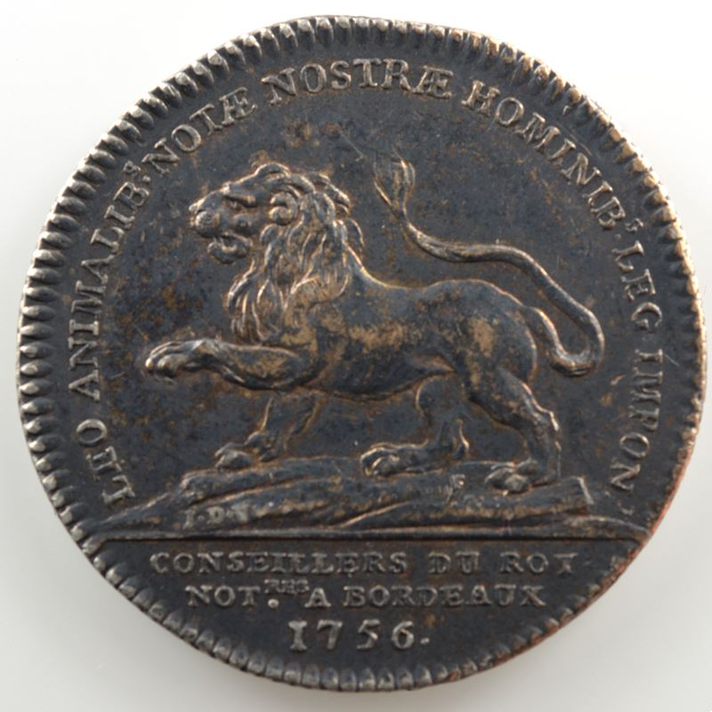 Jeton rond en argent  30mm   Louis XVI   Conseillers du Roy, Notaires à Bordeaux   1756    TTB