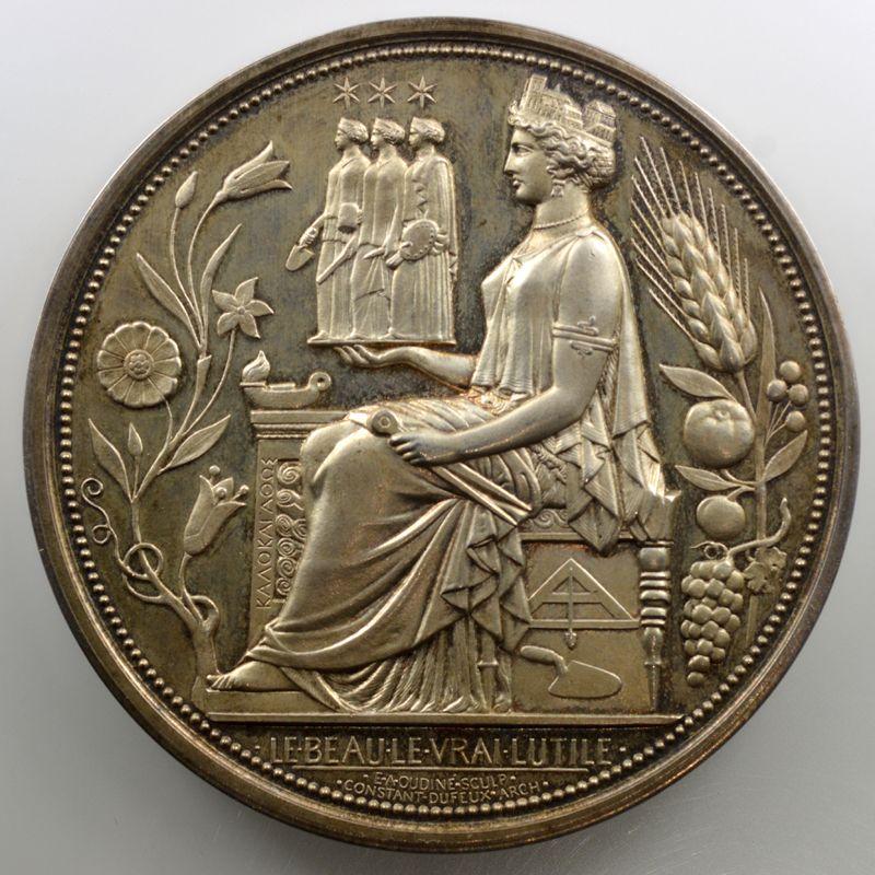 Oudiné   Médaille en argent  70mm   1885   Société centrale des architectes, fondée le 27 mai 1843    FDC