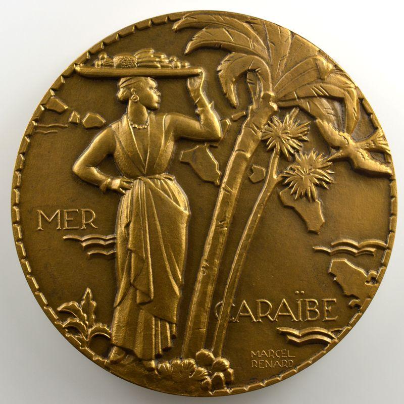 M. RENARD   Médaille en bronze  59mm   Cie Gle Transatlantique   Colombie    SUP