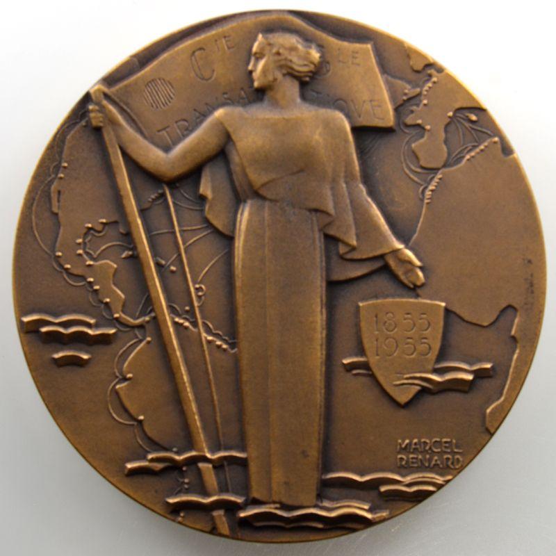 Marcel Renard   Compagnie générale transatlantique   Centenaire 1855-1955   bronze   68mm    SUP/FDC