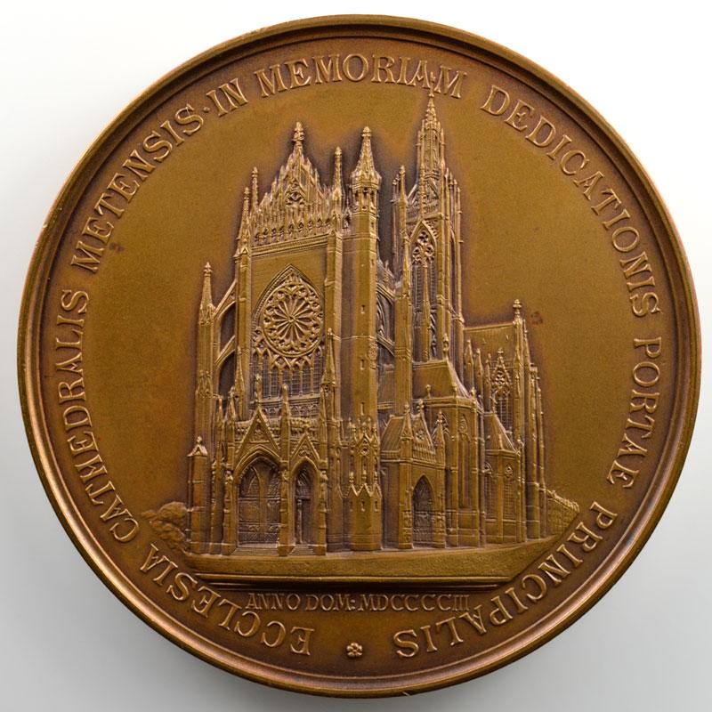 Inauguration du portail du Christ de la Cathédrale de Metz   Médaille en bronze  65mm   Guillaume II   1903    SUP/FDC
