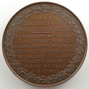 (MERCIE)   Aux citoyens du Gard morts pour la patrie  1800   bronze   61 mm    TTB+/SUP