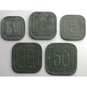 1, 2, 5, 10 et 50 Pfennig   1918    TTB+