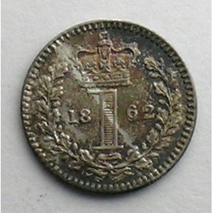 1 D Maundy Penny   1862    SUP