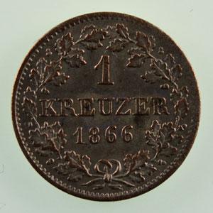 1 Kreuzer 1866   TTB+/SUP