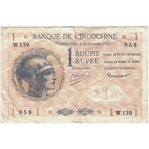 1 Roupie   Pondichéry   8 septembre 1945    TTB+