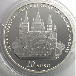 10 €   Europa - 1100° anniversaire de l'abbaye de Cluny   2010   37mm   22,2 g - Ag 900 mill.    BE