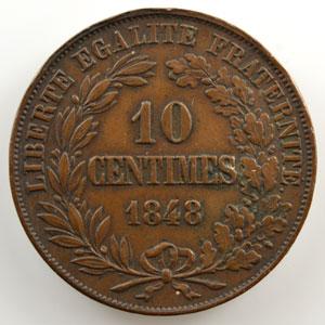 10 Centimes   1848   2° Concours de Gayrard   cuivre   revers a    TTB