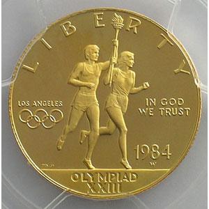 10 Dollars   Jeux Olympiques de Los Angeles   1984 W (West Point)    PCGS-PR68DCAM    BE