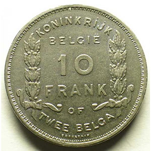 10 Frank - 2 Belga   légende flamande   1930 pos.A    TTB
