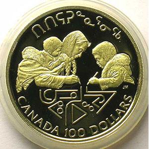 100 Dollars   Année internationale de l'Alphabétisation   1990    BE