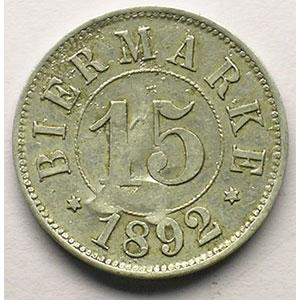 15 (Rappen) 1892,   Al,R,   22 mm   TTB+  contr. A