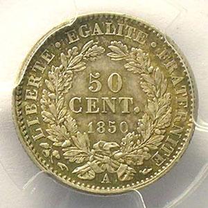 1850 A  (Paris)    PCGS-MS63    SUP/FDC