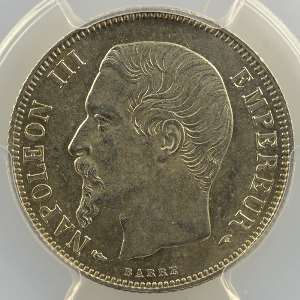 1855 A  (Paris)  chien-main    PCGS-MS62    SUP/FDC