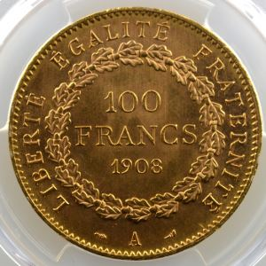1908 A  (Paris)    PCGS-MS62    SUP/FDC