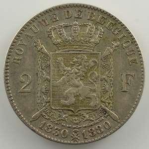 2 Francs   1880   50° Anniversaire de l'Indépendance 1830-1880    TTB