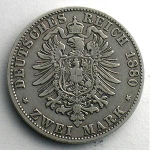 2 Mark   1880 D (Münich)    TB+/TTB