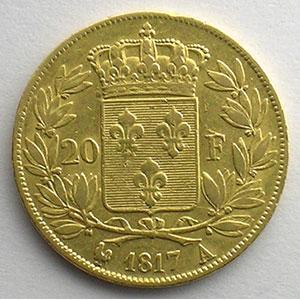 20 Francs   Louis XVIII   1817 A  (Paris)    TTB