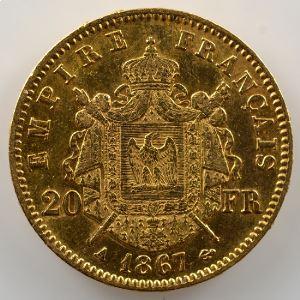 20 Francs   Napoléon III   1867 A  (Paris)   Monnaie fautée - coin tréflé à l'avers et au revers    TTB+