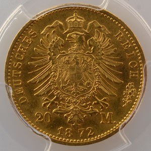 20 Mark   1872 F    PCGS-MS62    SUP/FDC