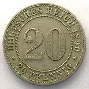 20 Pfennig   1890 F    TTB