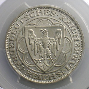 3 Reichsmark   1927 A   Hundert Jahre Bremerhaven    PCGS-MS65    SUP/FDC