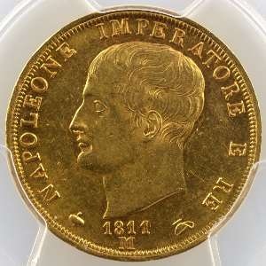 40 Lires   Napoléon I   1811 M  (Milan)    PCGS-AU58    SUP