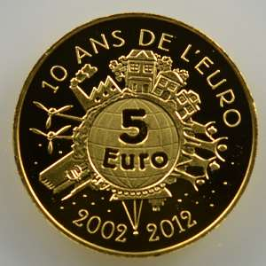 5 €   2012   10° anniversaire de l'introduction de l'Euro    BE