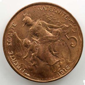 5 centimes   1916 étoile   coins tournés à 30° anti-horaire    SUP/FDC
