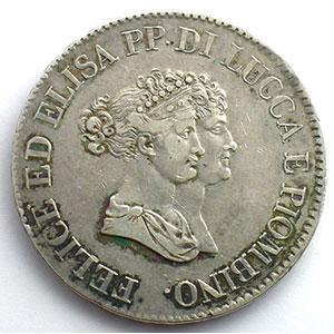 5 Lire  1805   (Elisa Bonaparte et Felice Baciocchi 1805-1814)    TTB/TTB+