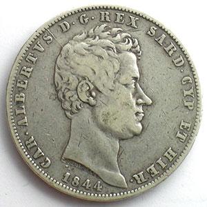 5 Lire   Charles-Albert (1831-1849)   1844 P ancre  (Gênes/Genova)    TB/TB+