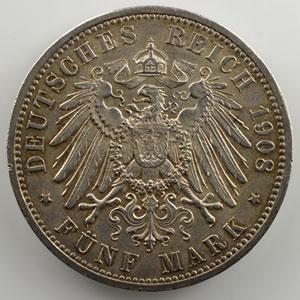 5 Mark   1908 A   (350° anniversaire de l'université de Jena)    SUP