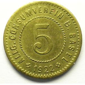 5 (Rappen) 1922   Lt, R,   19 mm   TTB