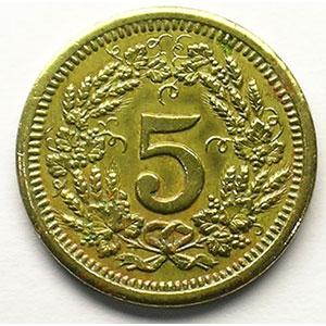 5 (Rappen) 1931   Lt, R,   19 mm   TTB
