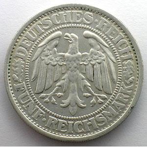 5 Reichsmark   1932 D   Eichbaum    TTB+