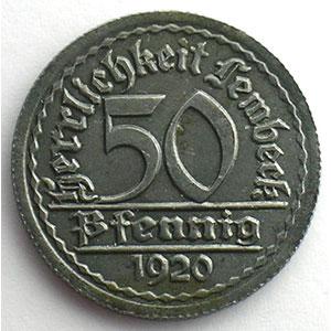 50 Pfennig   1920    TTB+