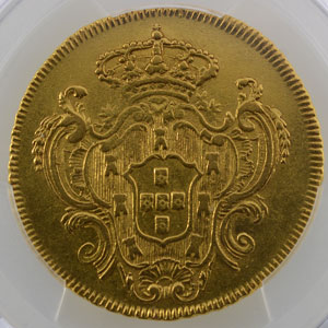 6400 Reis   Marie I  (1786-1805)    1797 R (Rio)    PCGS-Genuine Graffiti XF Detail    TTB+