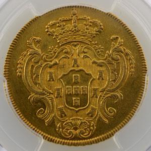 6400 Reis   Marie I et Pierre III  (1777-1786)    1780 R (Rio)    PCGS-AU55    TTB+/SUP