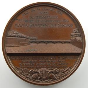 A. Bovy   Médaille en bronze   68mm   Inauguration du Pont de Thionville   1846    FDC
