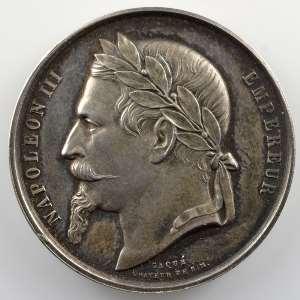 Caqué   Médaille en argent  37mm   Comice Agricole de Wissembourg (Bas-Rhin)   Napoléon III   1863    SUP/FDC