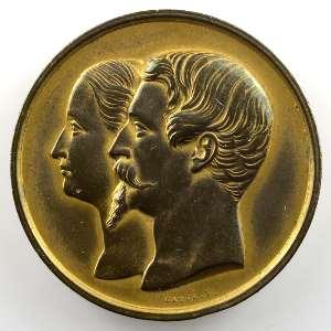 Caqué   Médaille en cuivre doré  38mm   Napoléon III et Eugénie   Maison de la Belle Jardinière, quai aux fleurs   P. Parissot    SUP